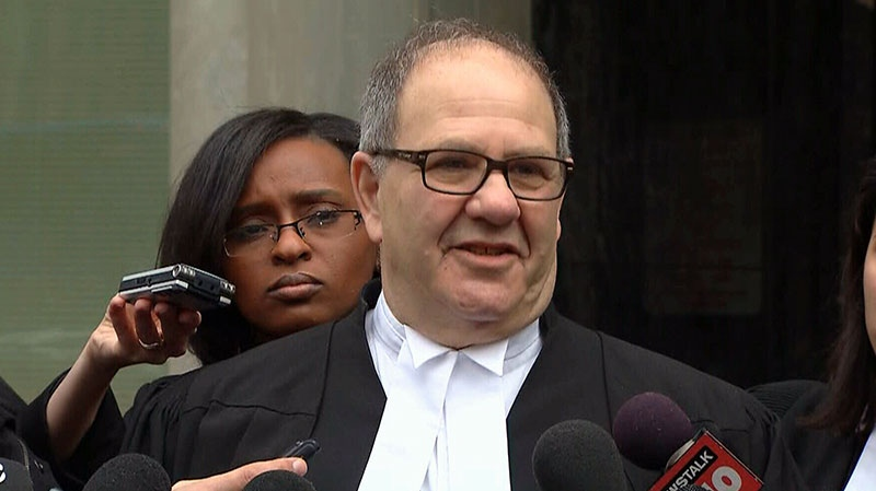 Defence lawyer Bob Richardson speaks to the media following a ruling that found his client not criminally responsible for an officer's death, Wednesday, March 27, 2013.