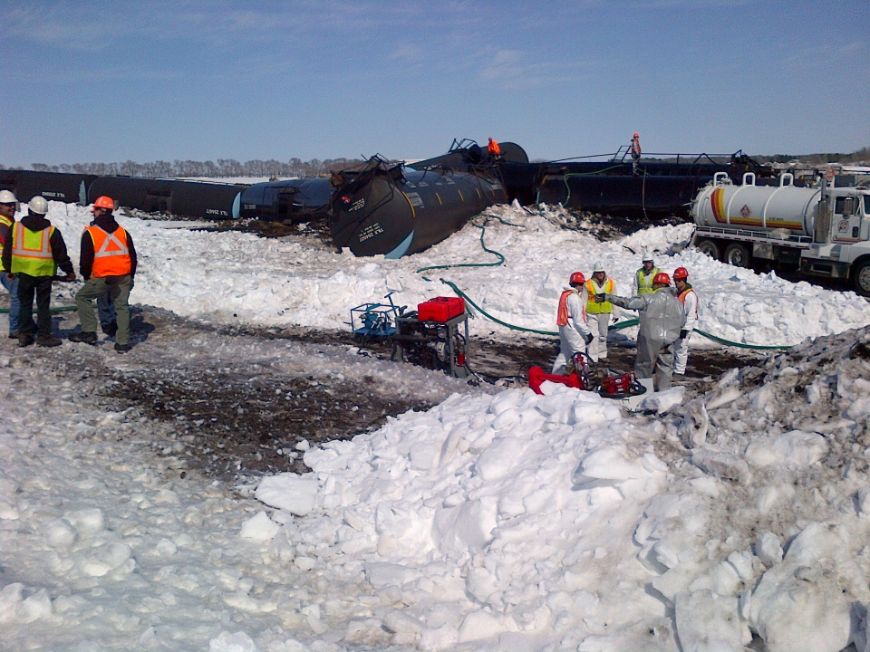 A CP Rail train came off the tracks, spilling more than 75,000 litres of oil in Minnesota on Wednesday, March 27, 2013.