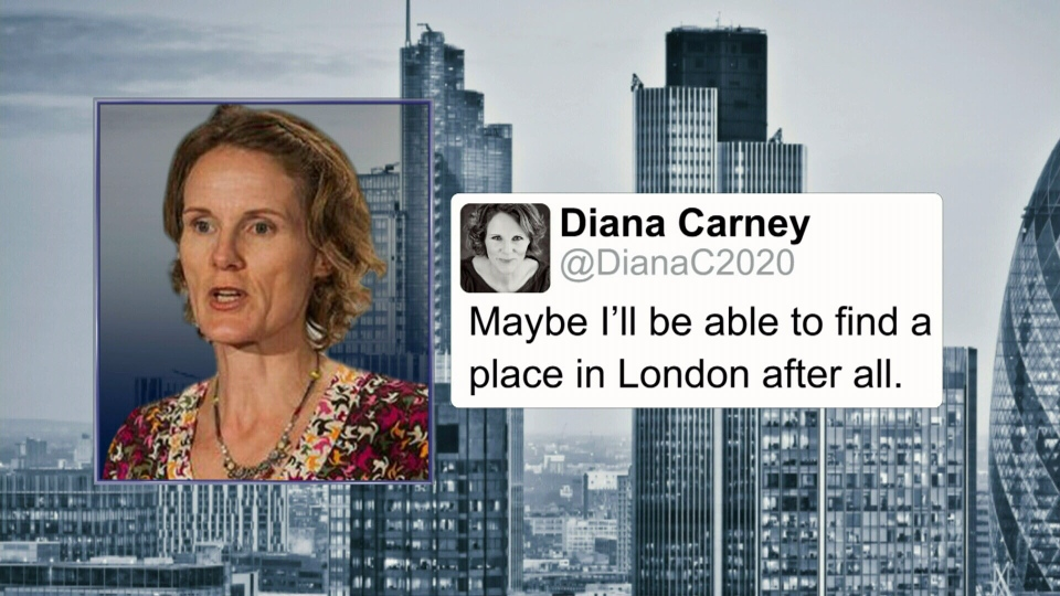 Diana Carney has come under fire for a tweet about finding a London home.