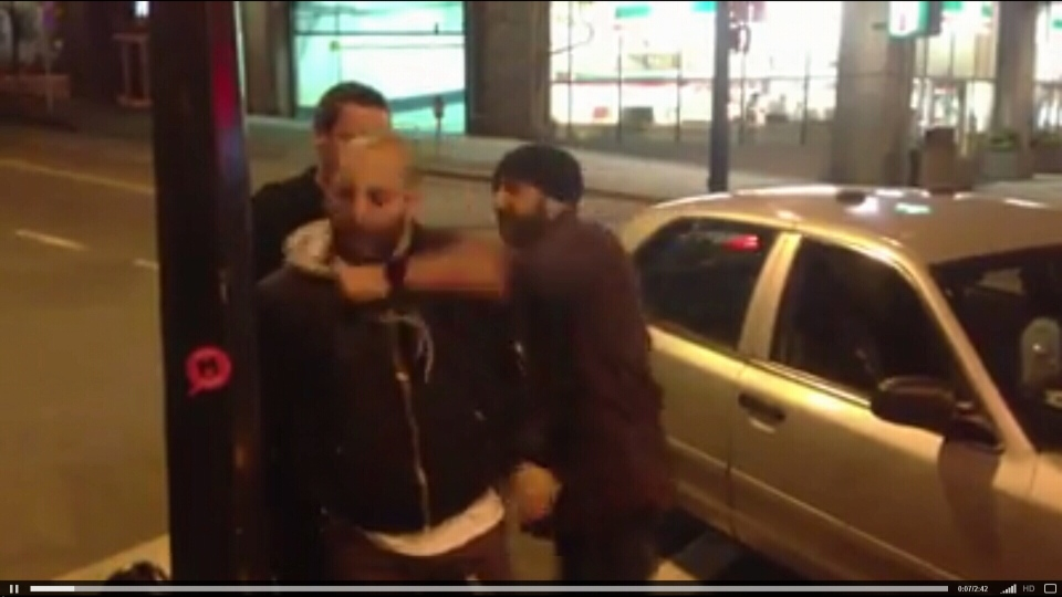 A Vancouver police officer punches a man in the face during an arrest, footage of which has been posted to YouTube. March 26, 2013. (YouTube)