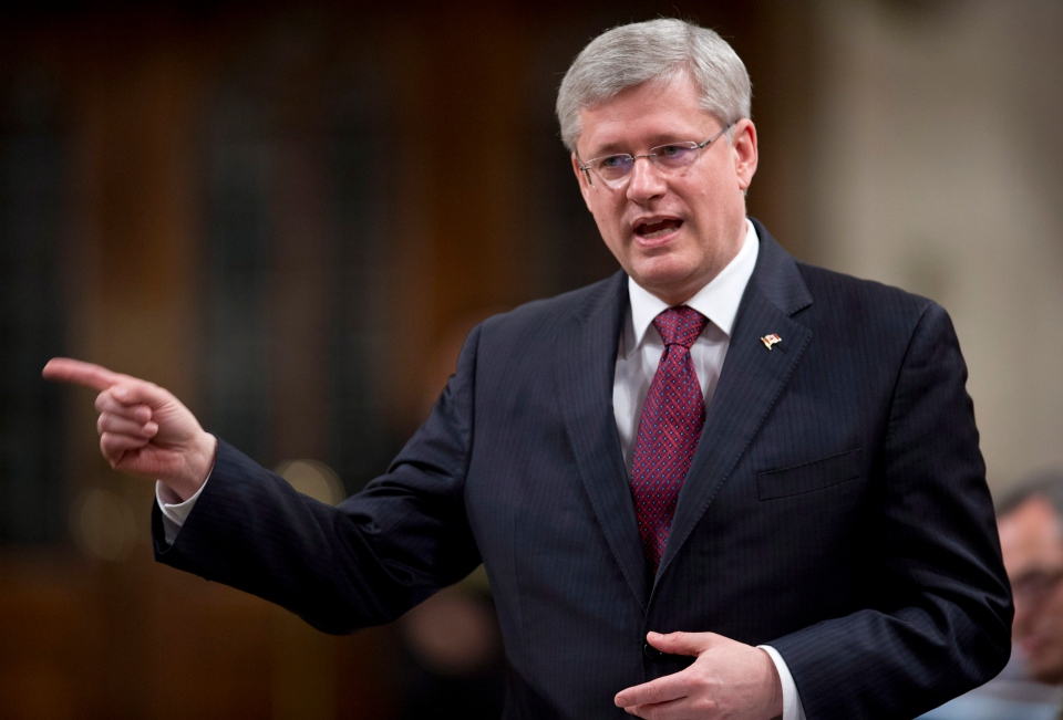 Prime Minister Stephen Harper responds to a question during question period in the House of Commons in Ottawa, Thursday, March 28, 2013. (Adrian Wyld / THE CANADIAN PRESS)