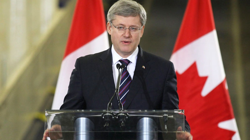 Prime Minister Stephen Harper speaks at the christening of a new Marine Atlantic ferry, Blue Puttees, in St. John's on Friday, Feb. 11, 2011. (Paul Daly / THE CANADIAN PRESS)