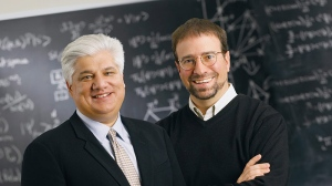 his undated photo provided by Perimeter Institute shows Mike Lazaridis, left, creator of BlackBerry, and Howard Burton, director of the Perimeter Institute in Waterloo, Ontario, Canada.  (AP Photo / Perimeter Institute)