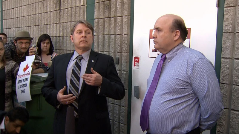 Nanaimo Daily News publisher Hugh Nicholson, centre, apologizes for a racist letter in this March 28, 2013 file photo. (CTV)