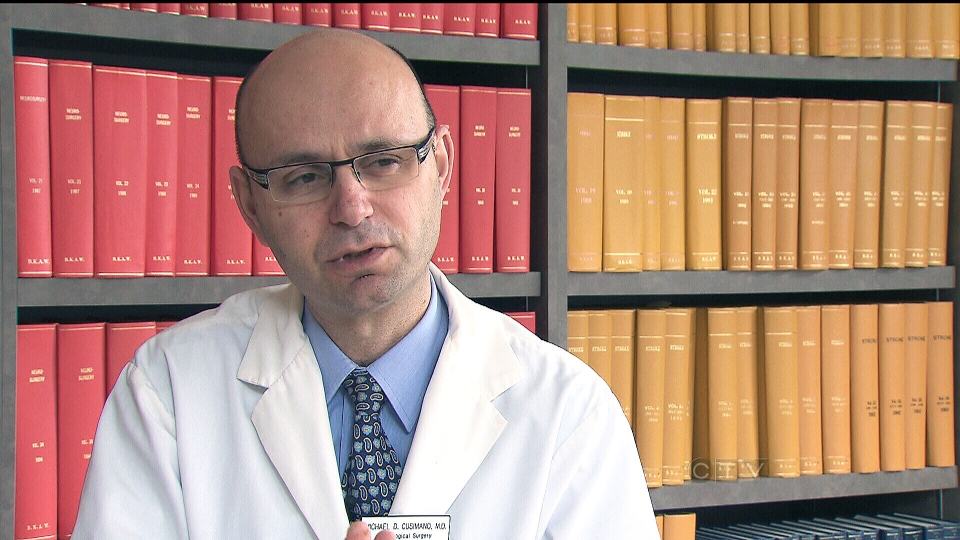Dr. Michael Cusimano, a neurosurgeon at St. Michael's Hospital, speaks to CTV News about how head injuries occur in youth sports, in Toronto, Thursday, March 28, 2013.