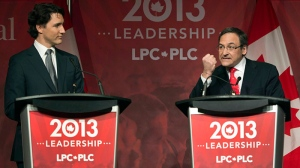 Justin Trudeau, left, and Martin Cauchon take part in the Liberal party leadership debate in Montreal on Saturday, March 23, 2013. (Ryan Remiorz / THE CANADIAN PRESS)