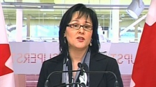 Federal Health Minister Leona Aglukkaq speaks to the media in Ottawa on Monday, Feb. 14, 2011.