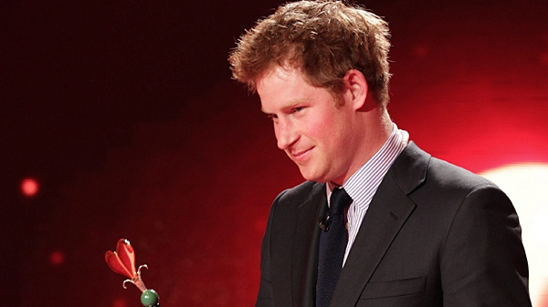 Prince Harry is seen after he was awarded at the charity gala 'Ein Herz fuer Kinder' (A Heart for Children) in Berlin, Saturday, Dec. 18, 2010. (AP / Peter Mueller, Pool)
