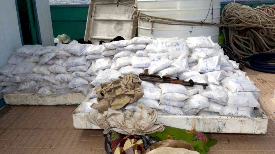 Canadian navy personnel recovered heroin from a ship in the Indian Ocean on Sunday, March 31, 2013.