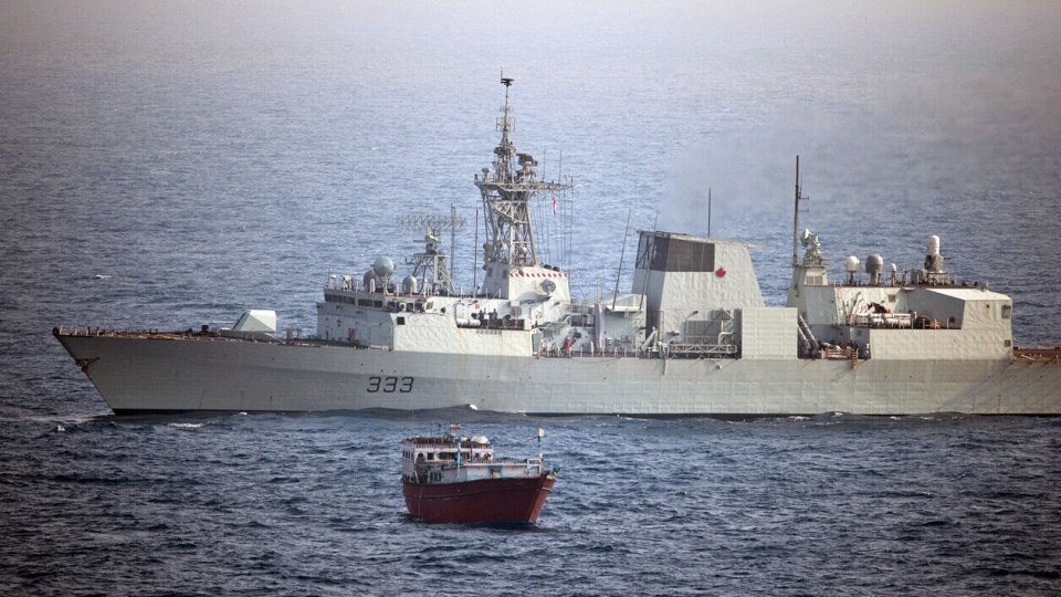 The crew of HMCS Toronto recovered heroin from a ship in the Indian Ocean on Sunday, March 31, 2013.