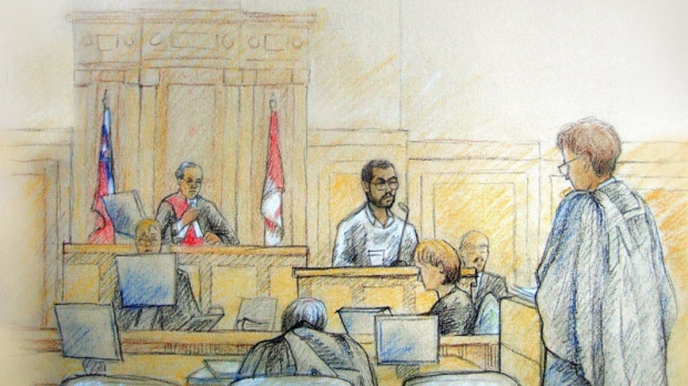 Mohamed Junaid Babar testifies at the trial of Momin Khawaja in an Ottawa courtroom, Tuesday, June 24, 2008 in this artist's sketch. (THE CANADIAN PRESS/Tammy Hoy)
