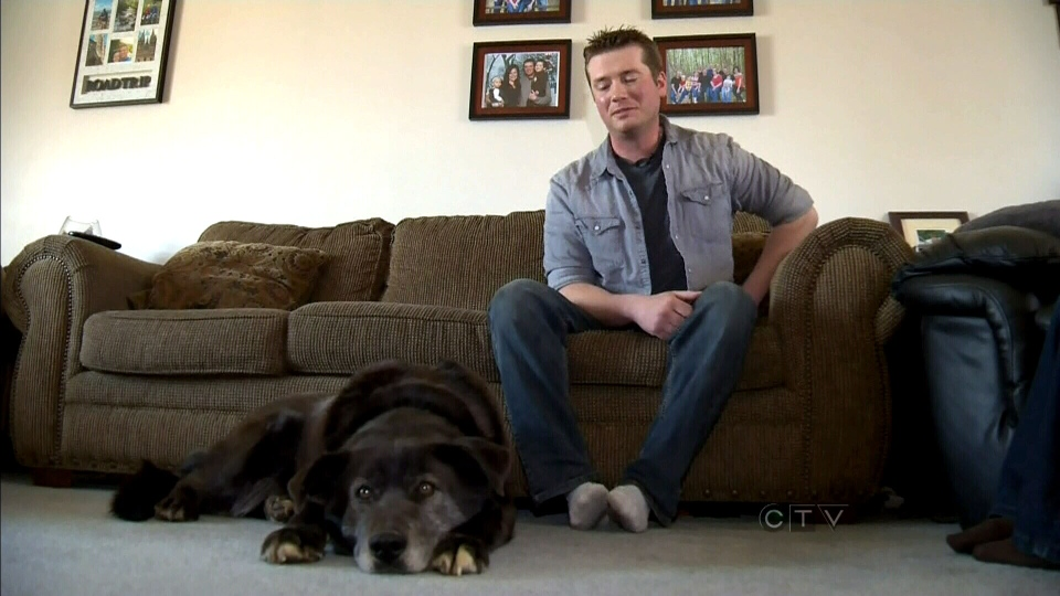 Adam Shaw and his dog Rocky are being hailed as heroes after they rescued two young girls who fell through ice on the North Saskatchewan River Sunday, March 31, 2013.