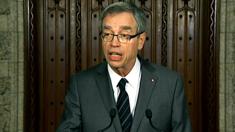Natural Resource Minister Joe Oliver responds TransCanada's plan to move oil from West to East during a press conference on Parliament Hill in Ottawa, Tuesday, April 2, 2013.