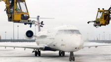 Integrated Deicing Services employees de-ice a plane during a winter storm at Buffalo Niagara International Airport in Cheektowaga, N.Y., Tuesday, Feb. 1, 2011. (AP / David Duprey)
