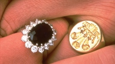 This is a 1981 file photo of the engagement rings of Britain's Prince Charles and his fiancee Lady Diana Spencer. (AP Photo, Pool, File)