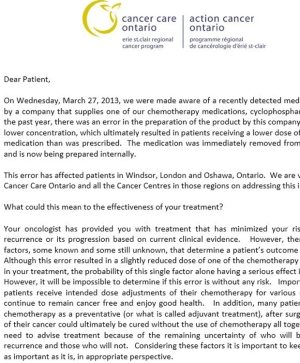 Cancer Care Ontario letter