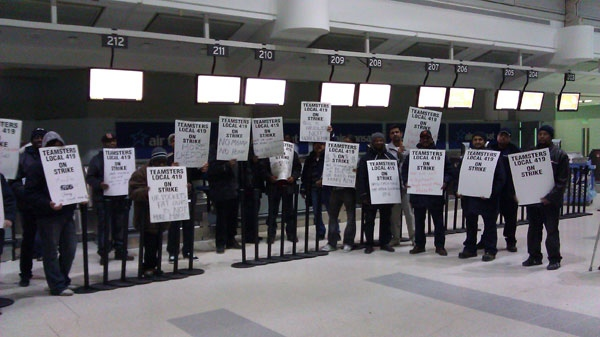 Baggage handlers are on strike at Pearson International Airport on Wednesday, Feb. 16, 2011. (Tom Stefanac / CTV News)