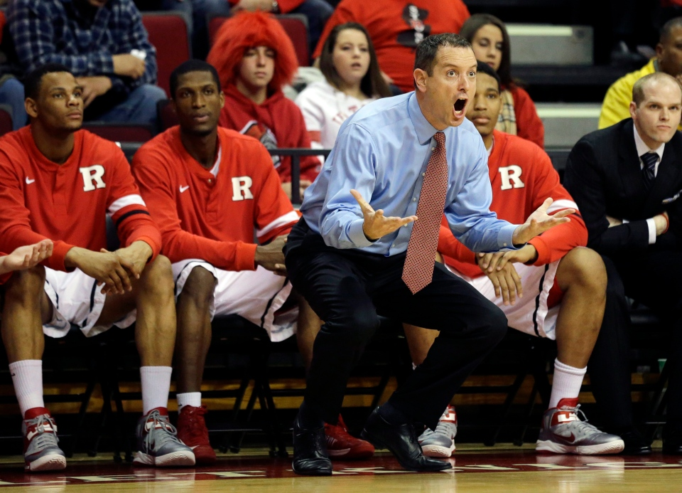 Rutgers head coach Mike Rice reacts to a call during the first half of an NCAA college basketball game against Seton Hall Tuesday, Feb. 12, 2013, in Piscataway, N.J. (AP / Mel Evans)