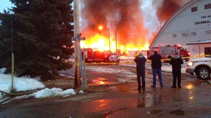 Two Hills Curling Rink fire