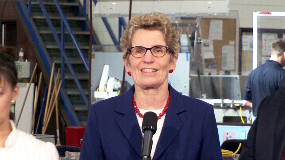 Ontario Premier Kathleen Wynne speaks to reporters about the possibility of an election being called, in Kingston, Ont., Wednesday, April 3, 2013.