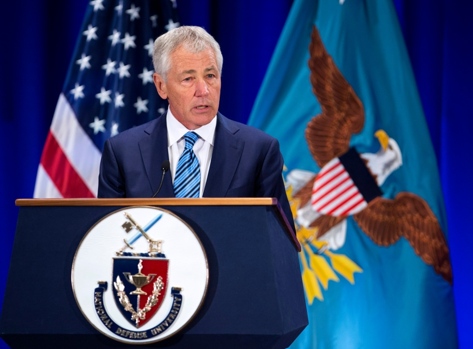 Defense Secretary Chuck Hagel speaks at the National Defense University at Fort McNair in Washington, Wednesday, April 3, 2013.  (AP / Manuel Balce Ceneta)