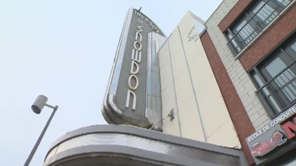 The iconic sign of the Snowdon Theatre on Decarie Blvd.
