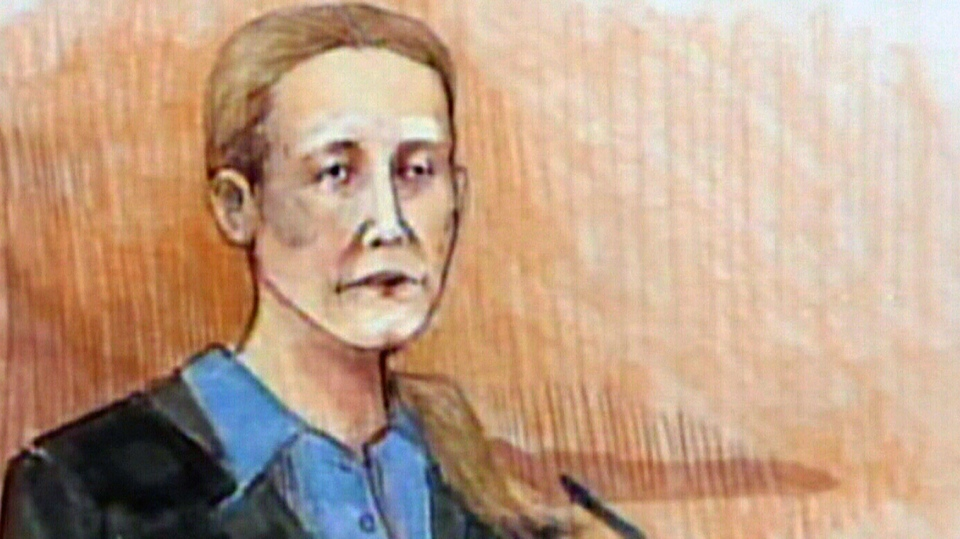 Allyson McConnell, a woman who killed her two young sons in Alberta, is shown in a court sketch on the stand on Monday, March 19, 2012.