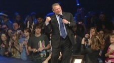 Former U.S. vice president Al Gore speaks at Free The Children's We Day rally in Kitchener, Ont. on Thursday, Feb. 17, 2011.