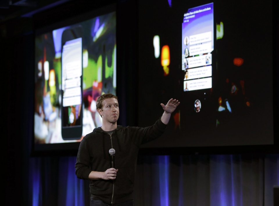 Facebook CEO Mark Zuckerberg speaks at the company's headquarters in Menlo Park, Calif., Thursday, April 4, 2013. (AP / Marcio Jose Sanchez)