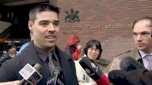 Spencer Kirkwood tells the media 'I love this city,' after being found guilty in a Vancouver courthouse on Thursday, April 4, 2013.