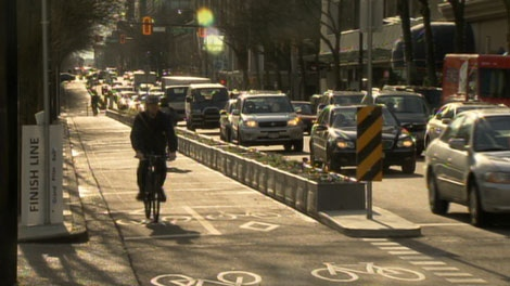 The City of Vancouver says about 600 bikers are using the downtown bike lanes on an average weekday. Feb. 18, 2011. (CTV)