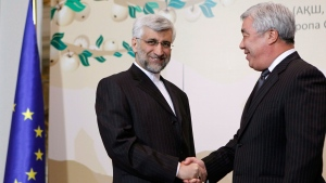 Saeed Jalili, secretary of Iran's Supreme National Security Council, left, shakes hands with Kazakhstan's Foreign Minister Yerlan Idrisov in Almaty, largest Kazakhstan's city on Friday, April 5, 2013. (AP / Shamil Zhumatov, Pool)