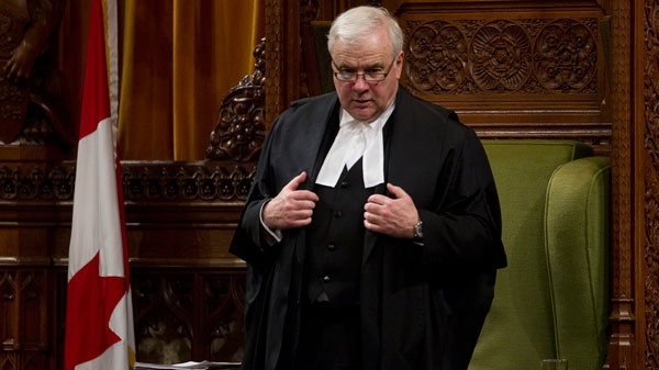 Speaker of the House of Commons Peter Milliken rises following a point of order in the chamber on Parliament Hill in Ottawa, Thursday Feb. 17, 2011. (Adrian Wyld / THE CANADIAN PRESS)