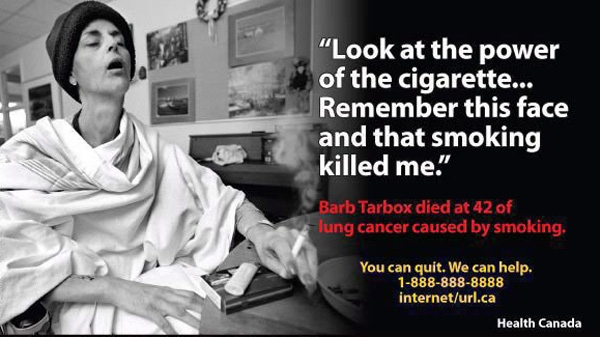 One of the new, explicit graphics on cigarette packages to discourage smoking includes an image of anti-smoking activist Barb Tarbox, who died of lung cancer in 2003 at age 42. (THE CANADIAN PRESS/ho)