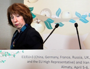EU Foreign Policy Chief Catherine Ashton leaves her news conference after the high-level talks between world powers and Iranian officials in Almaty, Kazakhstan, Saturday, April 6, 2013. (AP / Pavel Mikheyev)