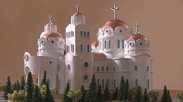 An image of a Serbian Orthodox church Nick Djokich had intended to help finance is shown.