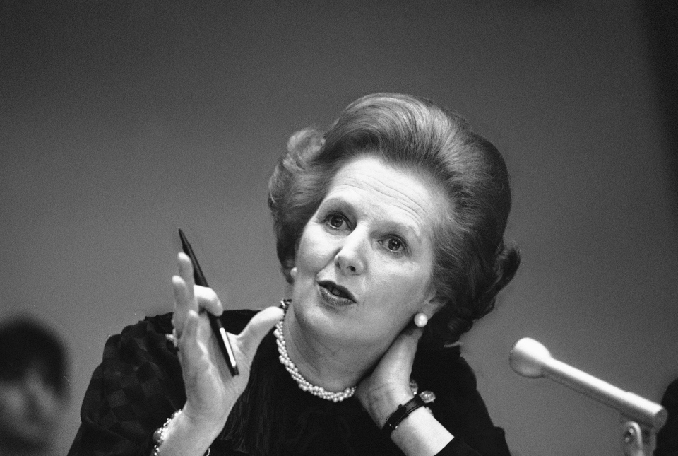 "In this June 23, 1982 file photo, Britain's Prime Minister Margaret Thatcher gestures with her pen as she answers a reporters question during a news conference at the United Nations. Ex-spokesman Tim Bell says that Thatcher has died. She was 87. Bell said the woman known to friends and foes as ""the Iron Lady"" passed away Monday morning, April 8, 2013. (AP Photo/File)"