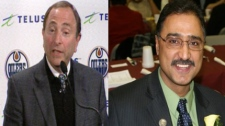 Gary Bettman, seen on the left, is getting some tough criticism from councillor Amarjeet Sohi, seen on the right.