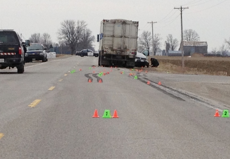 Police are at the scene of a fatal crash near Seaforth, Ont. on April 8, 2013. (David Imrie / CTV Kitchener)