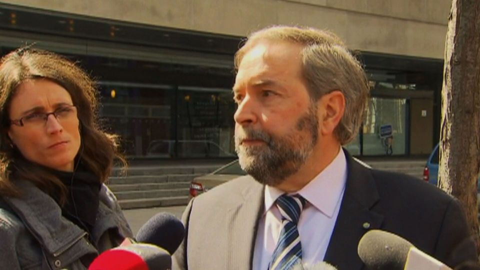 NDP Leader Thomas Mulcair blasted Canada's temporary foreign workers program on Monday, April 8, 2013.