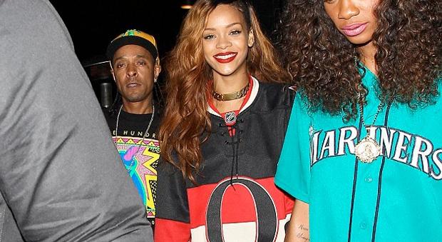 Rihanna wearing Ottawa Senators Jersey