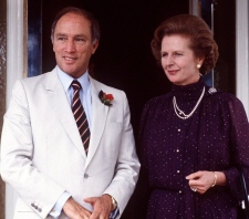 Margaret Thatcher stands with Pierre Trudeau