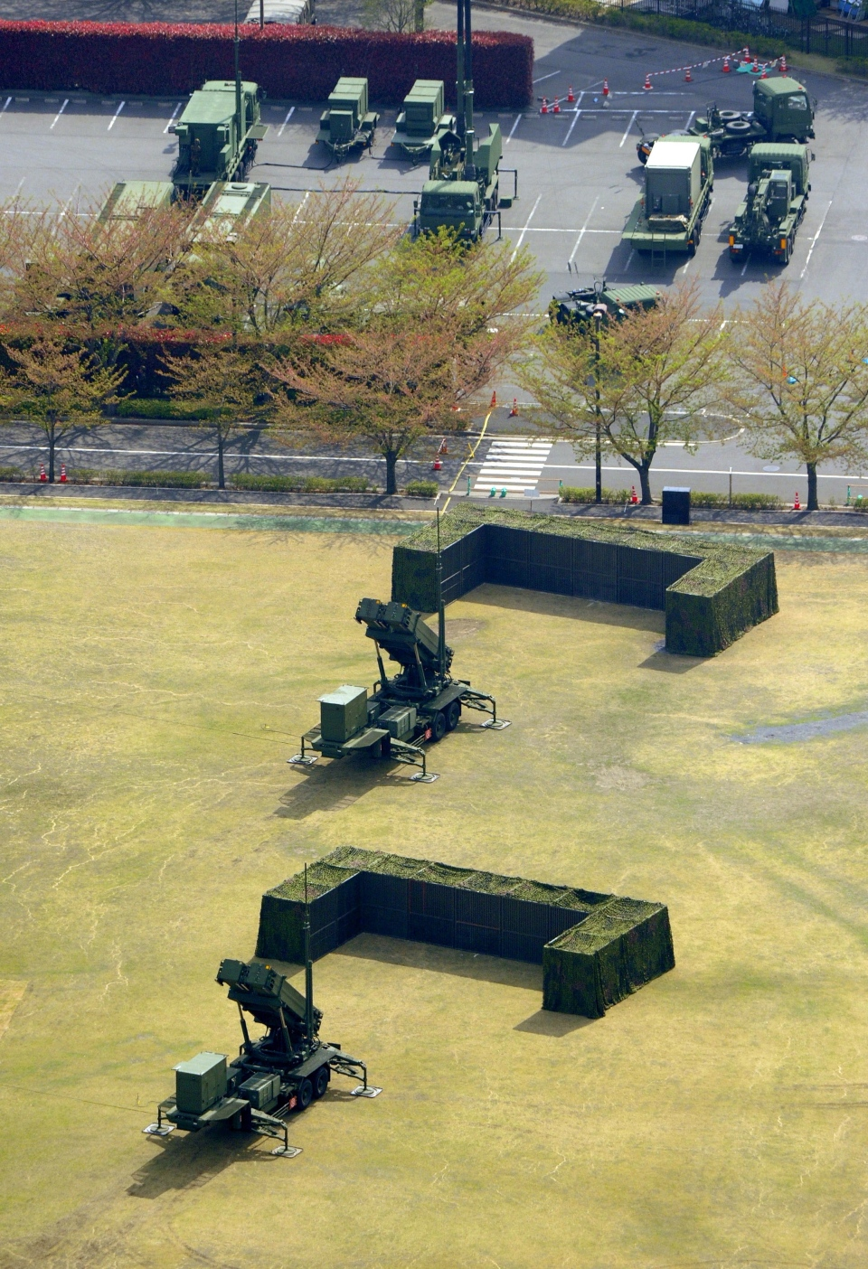 This aerial photo shows units of Japan Air Self-Defense Force's PAC-3s deployed at Defense Ministry in Tokyo Tuesday, April 9, 2013. (Kyodo News)