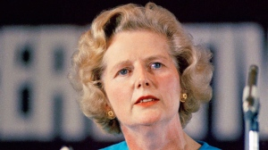 Margaret Thatcher, leading conservative who won the first ballot for leadership which resulted in Edward Heaths resignation, speaks in London, Feb. 10, 1975. (AP)
