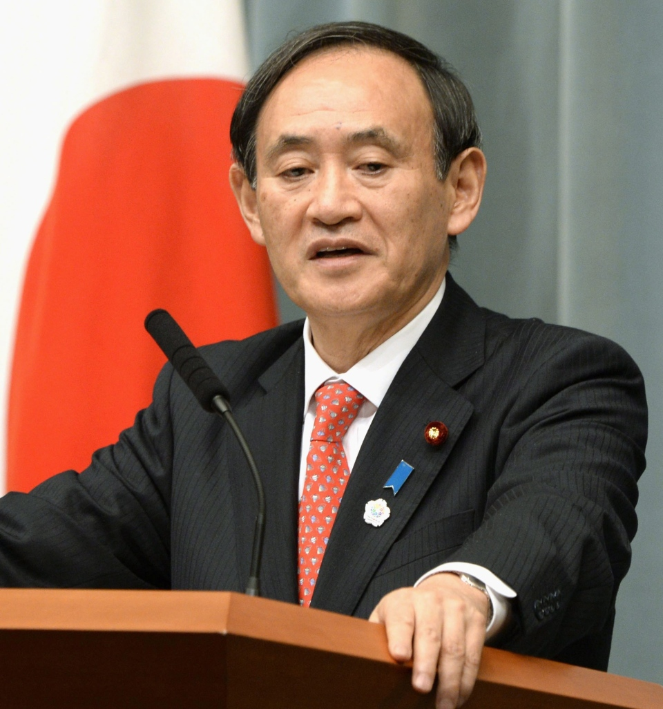 Japan's chief Cabinet spokesman Yoshihide Suga speaks about North Korea during a regular press conference at the Prime Minister's official residence in Tokyo Monday, April 8, 2013. (Kyodo News)