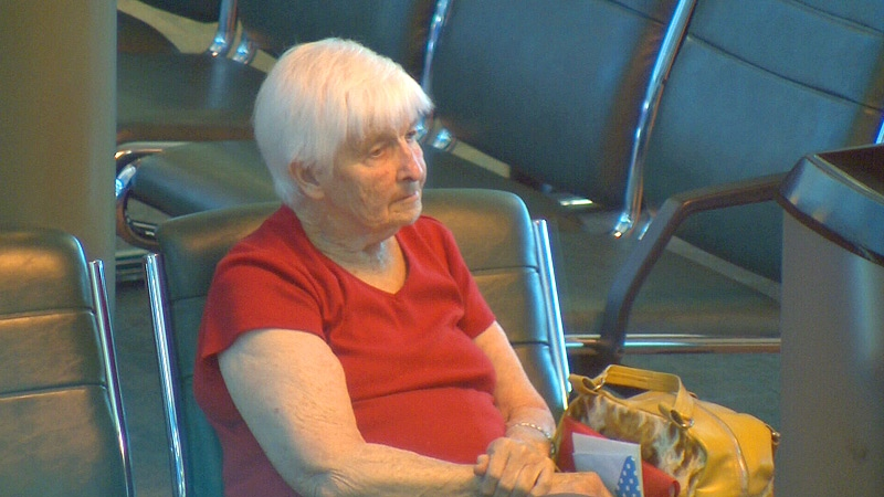 Allyson McConnell's mother, Helen Meager, could be seen waiting at a gate at the Edmonton International Airport on Monday, April 8.