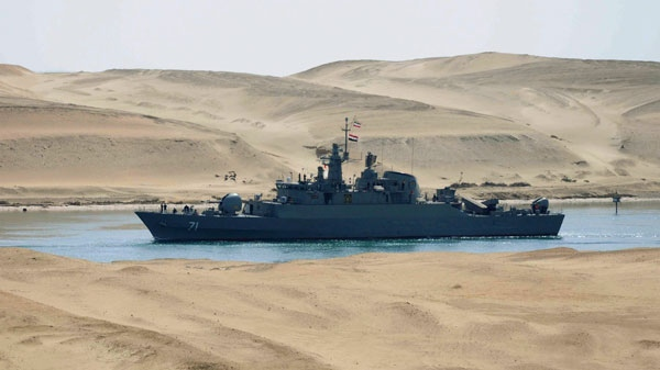 The Iranian navy frigate IS Alvand passes through the Suez canal at Ismailia, Egypt, Tuesday, Feb.22, 2011. (AP Photo)