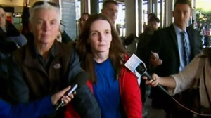 Allyson McConnell and her mother were greeted by a throng of reporters at the Sydney airport on Wednesday, April 10, 2013.