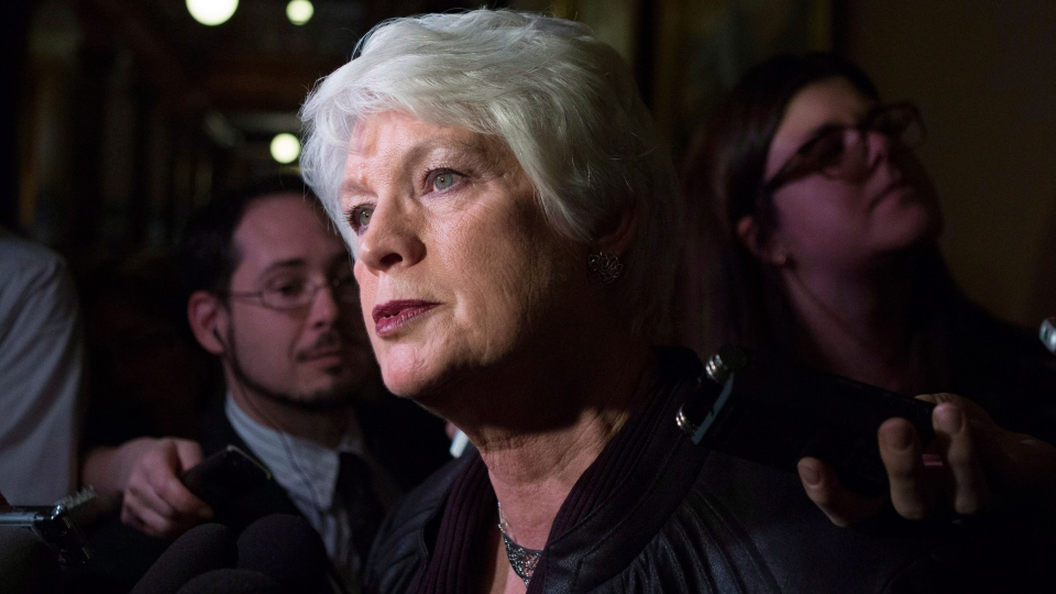 New Ontario Education Minister Liz Sandals scrums with the press at the Ontario Legislature in Toronto on Wednesday, Feb. 13, 2013. (Chris Young / THE CANADIAN PRESS)