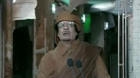 Libyan leader Moammar Gadhafi speaks in Libya on Tuesday, Feb. 22, 2011.